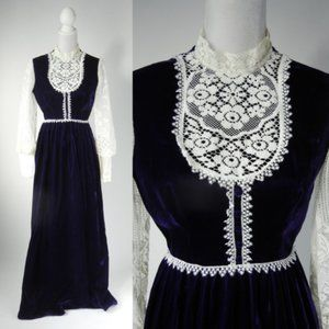 1960s Vintage Purple Velvet Maxi Dress Boho